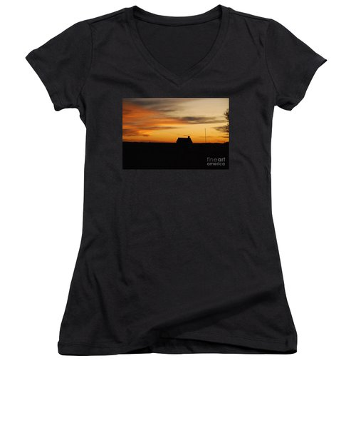 Women's V-Neck T-Shirt (Junior Cut) featuring the photograph Prairie Sunset by Mary Carol Story