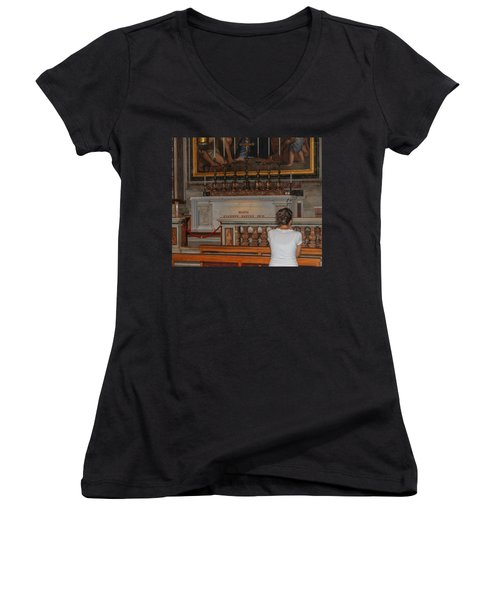 Praying To Pope John Paul II  Women's V-Neck T-Shirt