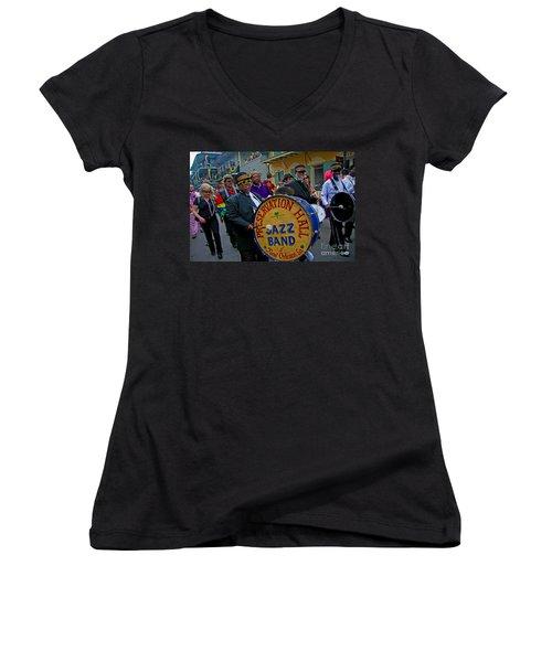 New Orleans Jazz Band  Women's V-Neck T-Shirt (Junior Cut) by Luana K Perez