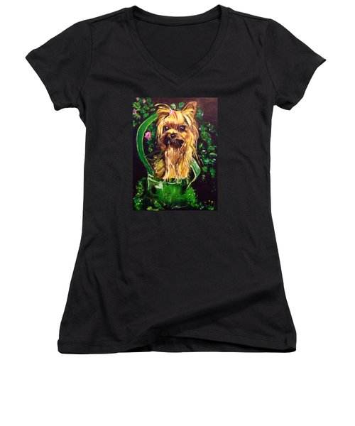 Women's V-Neck T-Shirt (Junior Cut) featuring the painting Pretty Bambi by Belinda Low