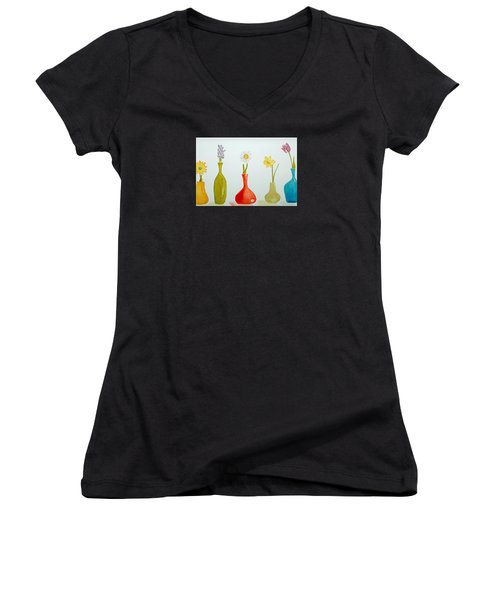 Pretty Flowers In A Row Women's V-Neck T-Shirt (Junior Cut) by Elvira Ingram