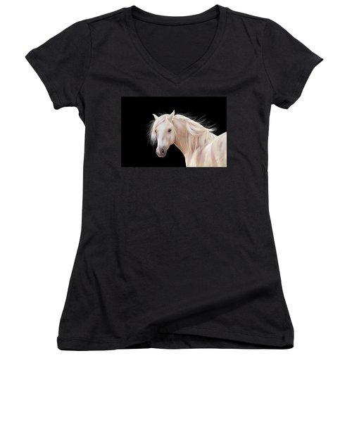 Pretty Palomino Pony Painting Women's V-Neck (Athletic Fit)
