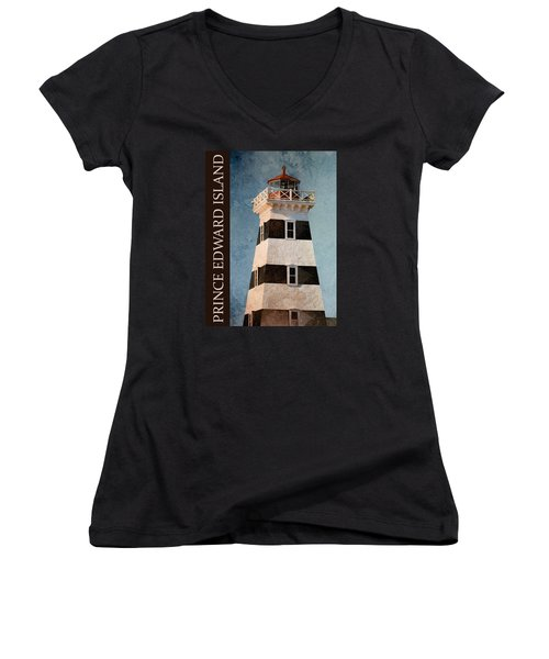 Women's V-Neck T-Shirt (Junior Cut) featuring the photograph Prince Edward Island Lighthouse by WB Johnston