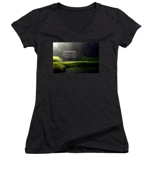 Prior Park Bath Women's V-Neck T-Shirt (Junior Cut) by Ron Harpham