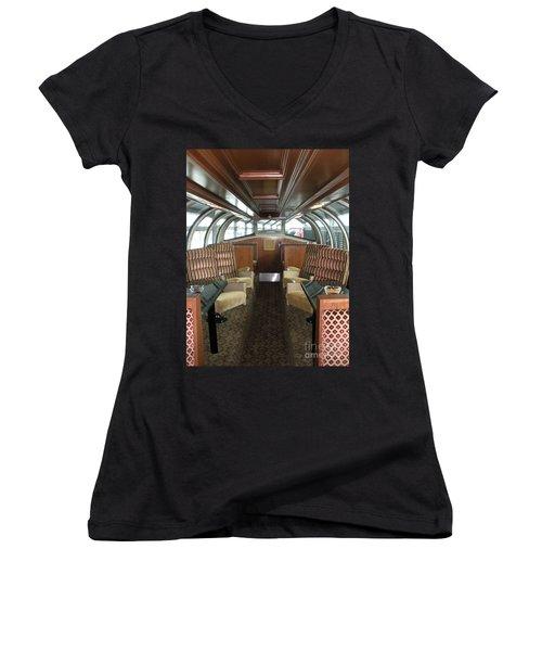 Private Dome Rail Car  Women's V-Neck T-Shirt (Junior Cut) by Joseph Baril