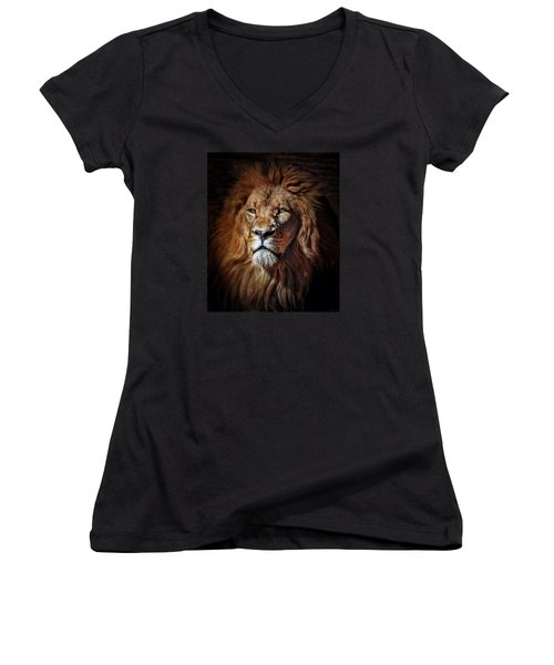 Women's V-Neck T-Shirt (Junior Cut) featuring the mixed media Proud N Powerful by Elaine Malott