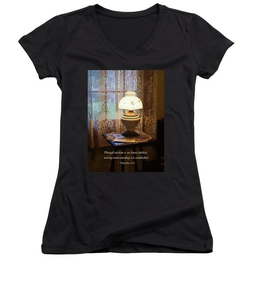 Proverbs 24 3 Through Wisdom Is An House Builded Women's V-Neck