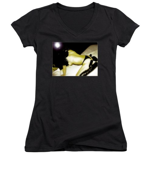 Provocative  Women's V-Neck T-Shirt (Junior Cut) by Iconic Images Art Gallery David Pucciarelli