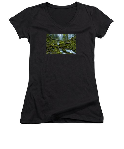 Women's V-Neck T-Shirt (Junior Cut) featuring the photograph Proxy Falls by Nick  Boren