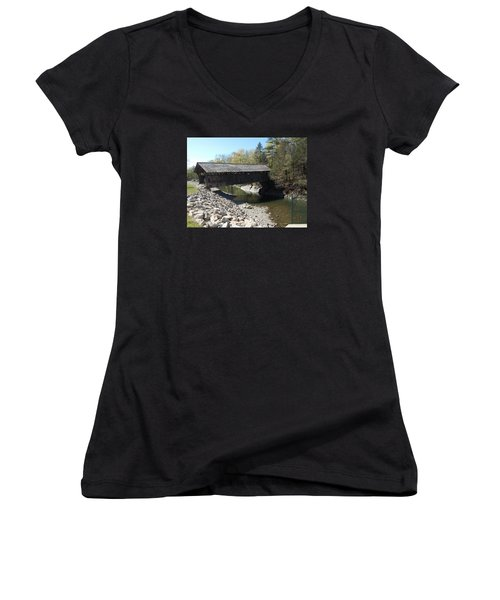 Pumping Station Covered Bridge Women's V-Neck T-Shirt (Junior Cut) by Catherine Gagne