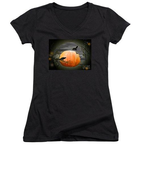 Pumpkin And Moon Halloween Art Women's V-Neck T-Shirt (Junior Cut)