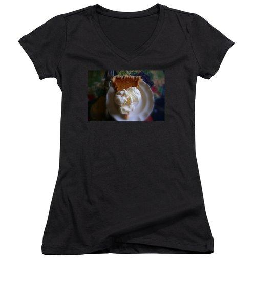 Pumpkin Pie A' La Mode Women's V-Neck T-Shirt (Junior Cut) by Kay Novy