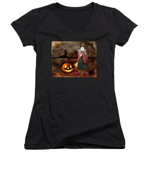 Pumpkinella The Magical Good Witch And Her Magical Cat Women's V-Neck (Athletic Fit)
