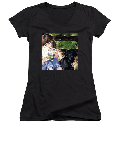 Pup And Paperback Women's V-Neck (Athletic Fit)
