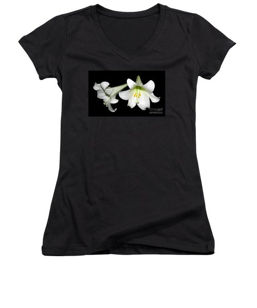 Women's V-Neck T-Shirt (Junior Cut) featuring the photograph Pure White Easter Lilies by Rose Santuci-Sofranko