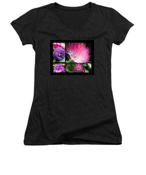 Purple Bouquet Women's V-Neck (Athletic Fit)
