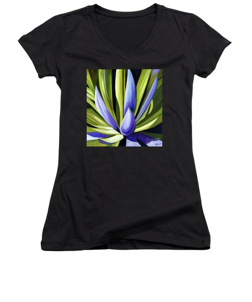 Purple Cactus Women's V-Neck T-Shirt