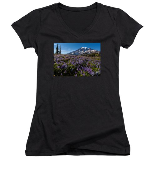 Purple Fields Forever And Ever Women's V-Neck T-Shirt