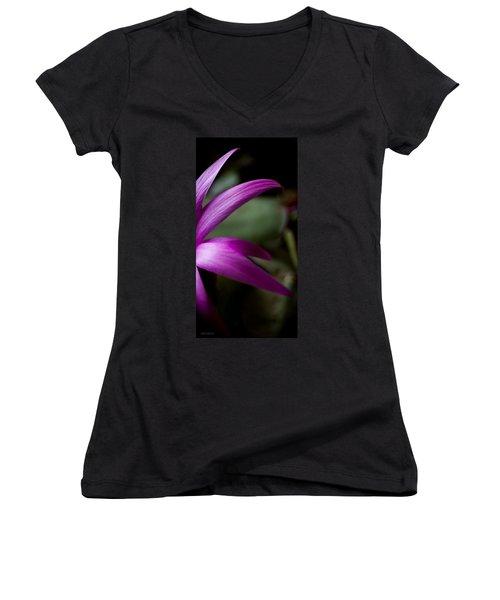 Purple Flower Women's V-Neck T-Shirt