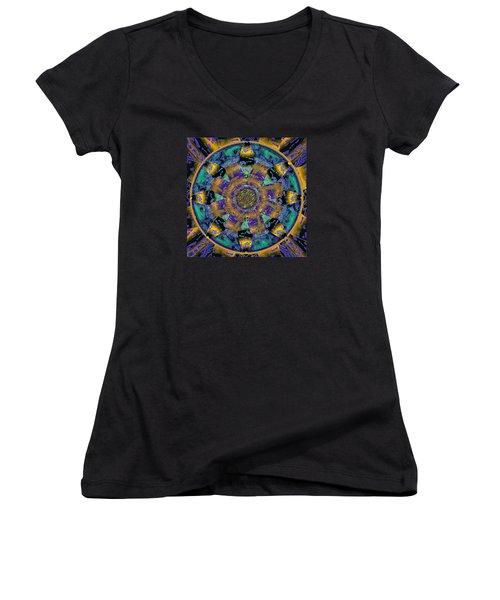 Purple Gold Dream Catcher Mandala Women's V-Neck T-Shirt (Junior Cut) by Michele Avanti