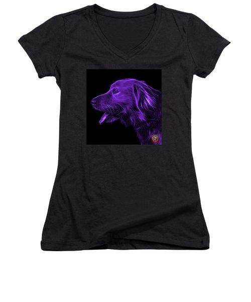Purple Golden Retriever - 4047 F Women's V-Neck T-Shirt