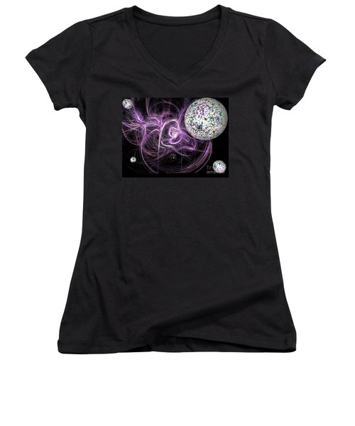 Women's V-Neck T-Shirt (Junior Cut) featuring the digital art Purple Haze by Jacqueline Lloyd