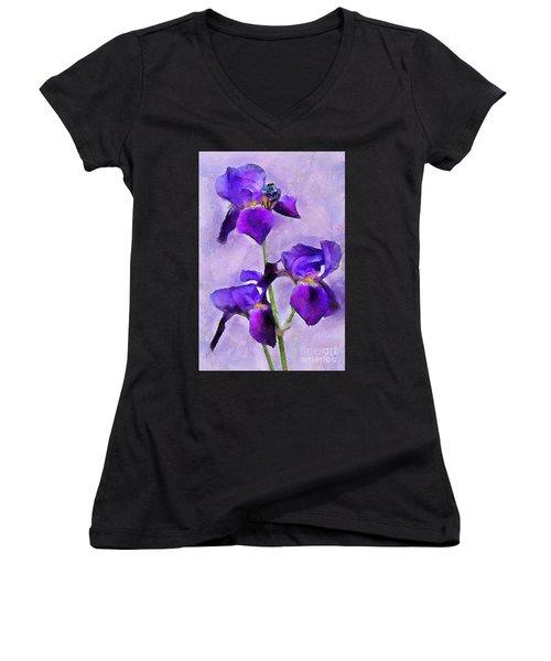Purple Irises - Painted Women's V-Neck T-Shirt