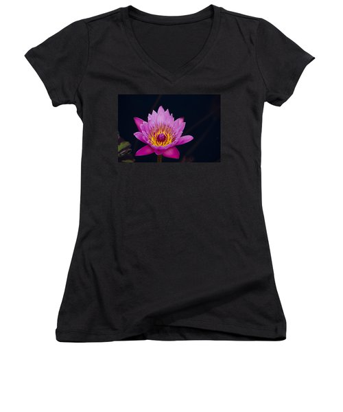 Purple Lotus Flower Women's V-Neck (Athletic Fit)