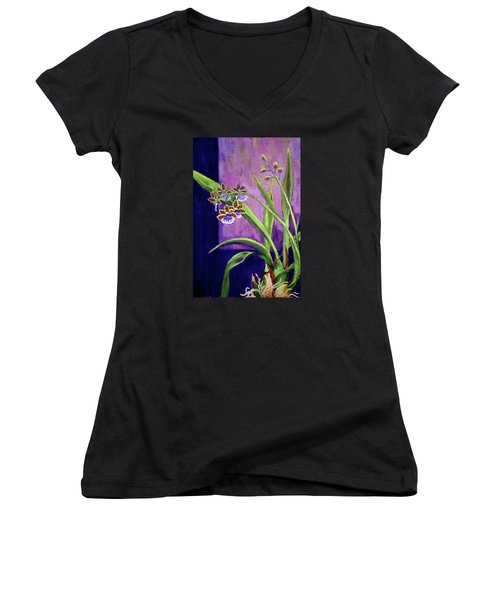 Women's V-Neck T-Shirt (Junior Cut) featuring the painting Purple Orchids by Nancy Jolley