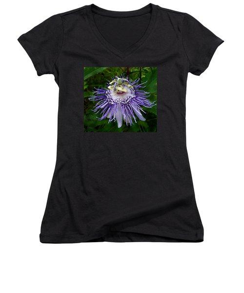 Purple Passionflower Women's V-Neck (Athletic Fit)