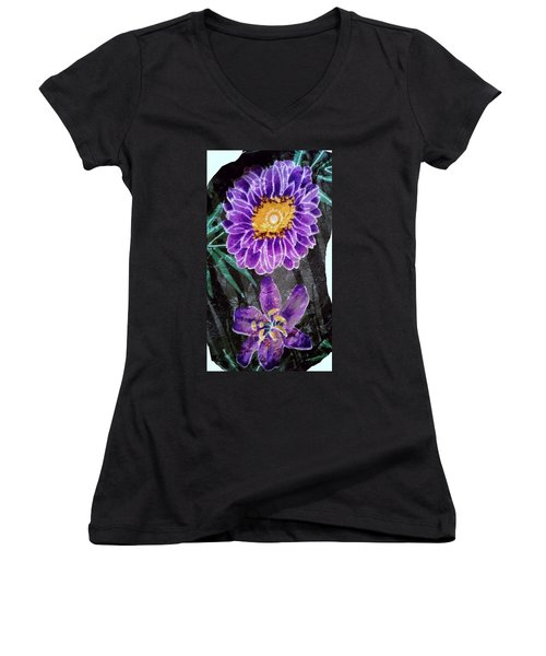 Women's V-Neck T-Shirt (Junior Cut) featuring the photograph Purple Silk by Fortunate Findings Shirley Dickerson