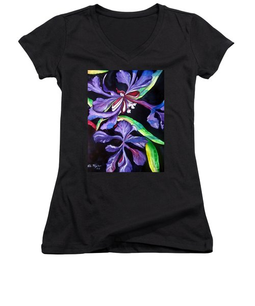 Purple Wildflowers Women's V-Neck (Athletic Fit)