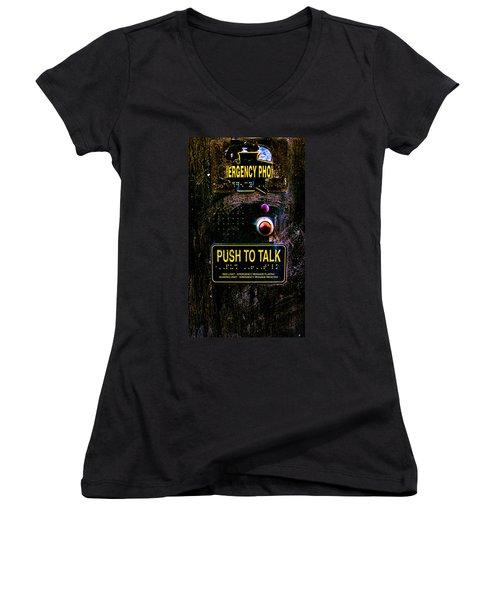 Push To Talk Women's V-Neck T-Shirt (Junior Cut) by Bob Orsillo