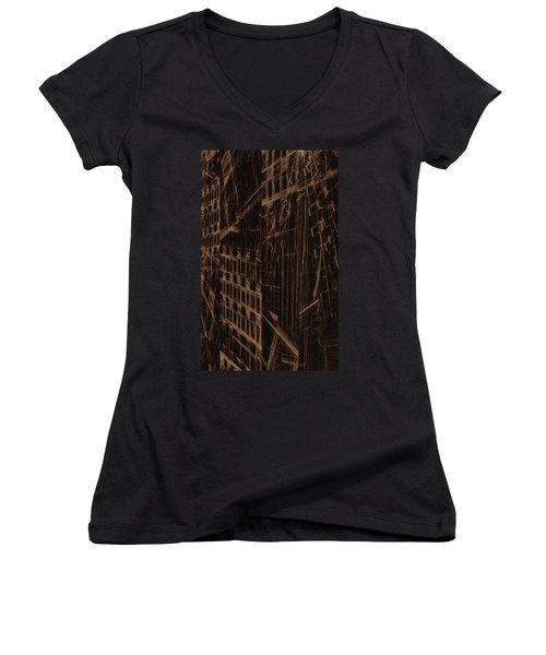 Women's V-Neck T-Shirt (Junior Cut) featuring the digital art Quake - Ground Zero by GJ Blackman