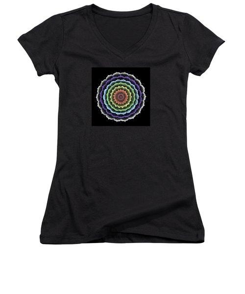 Quan Yin's Healing Women's V-Neck T-Shirt (Junior Cut) by Keiko Katsuta