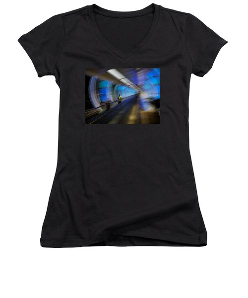 Women's V-Neck T-Shirt (Junior Cut) featuring the photograph Quantum Tunneling by Alex Lapidus