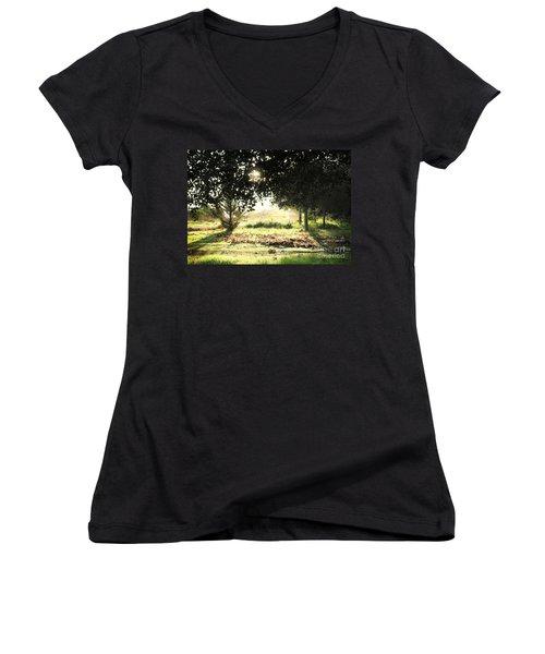 Women's V-Neck T-Shirt (Junior Cut) featuring the photograph Quarry Lakes Sunrise by Ellen Cotton