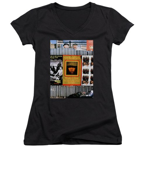 Women's V-Neck T-Shirt (Junior Cut) featuring the photograph Queen Badu by Rebecca Harman