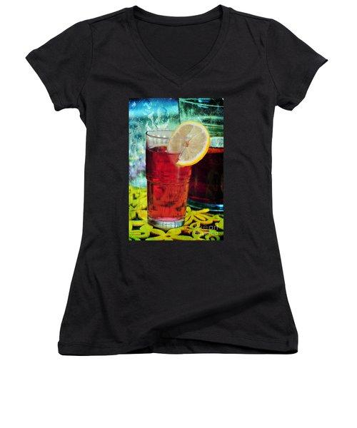 Quench My Thirst Women's V-Neck T-Shirt (Junior Cut) by Randi Grace Nilsberg