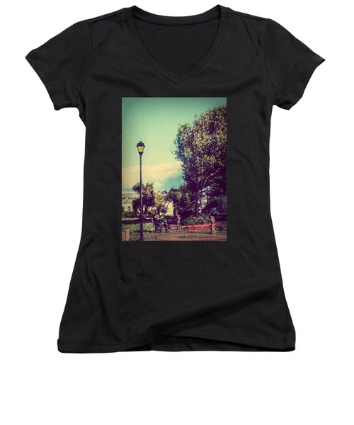 Women's V-Neck T-Shirt (Junior Cut) featuring the photograph Quiet Reflections by Melanie Lankford Photography