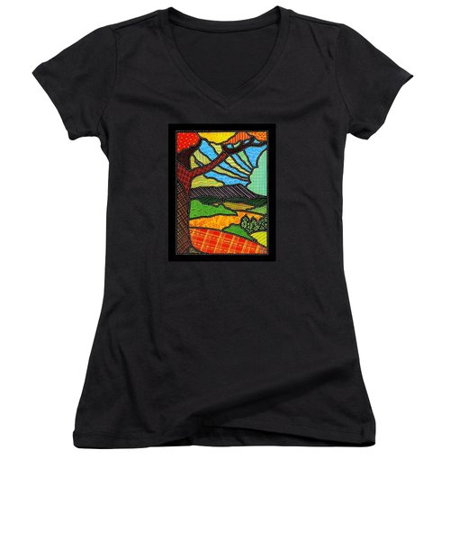 Quilted Bright Harvest Women's V-Neck (Athletic Fit)