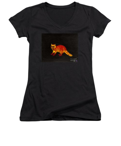 Raccoon Women's V-Neck T-Shirt (Junior Cut)