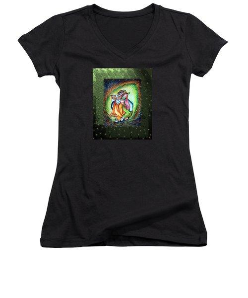 Radha Krishna Women's V-Neck T-Shirt (Junior Cut) by Harsh Malik