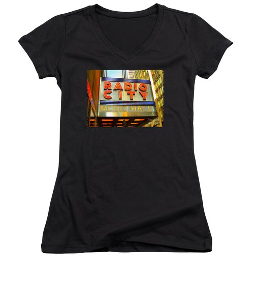 Women's V-Neck T-Shirt (Junior Cut) featuring the photograph Radio City Music Hall by Judy Palkimas