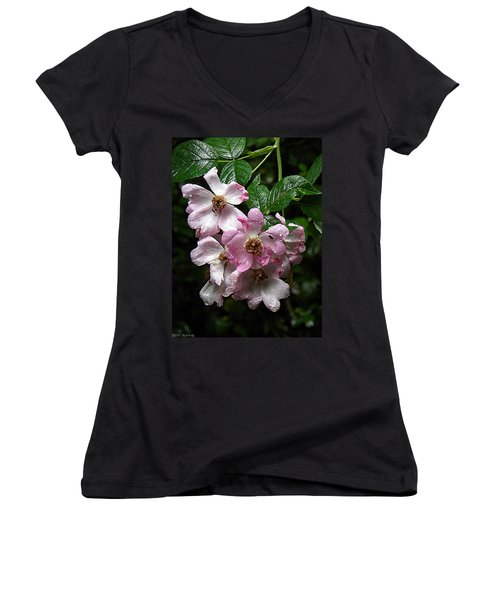 Rain Soaked Rose Women's V-Neck (Athletic Fit)