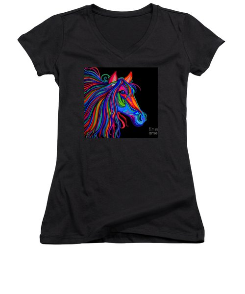 Rainbow Horse Head Women's V-Neck T-Shirt (Junior Cut) by Nick Gustafson