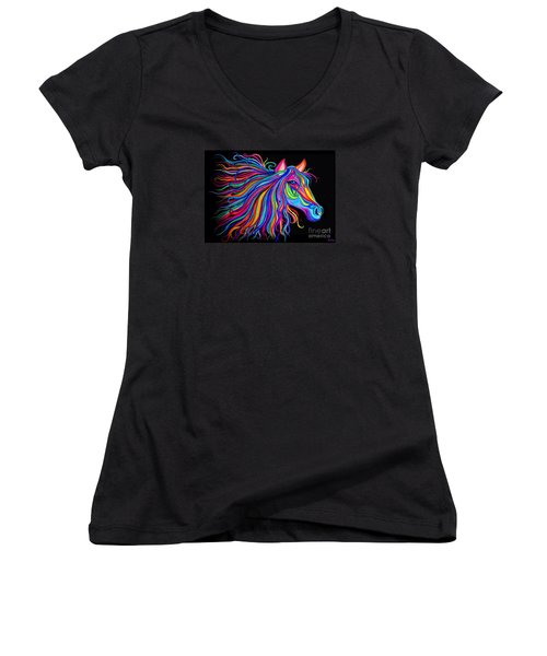 Rainbow Horse Too Women's V-Neck T-Shirt (Junior Cut) by Nick Gustafson