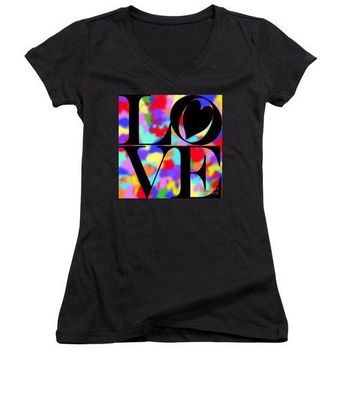Rainbow Love In Black Women's V-Neck T-Shirt (Junior Cut) by Kasia Bitner