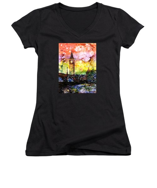Rainbow Of Fruit Flavors Women's V-Neck T-Shirt (Junior Cut) by Ryan Fox