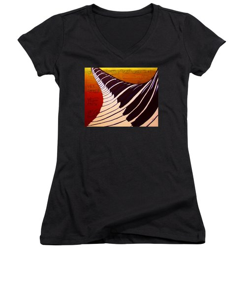 Women's V-Neck T-Shirt (Junior Cut) featuring the painting Rainbow Piano Keyboard Twist In Acrylic Paint With Sheet Music Notes In Blue Yellow Orange Red by M Zimmerman MendyZ